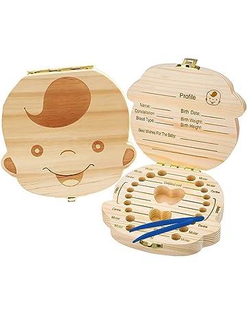 Organizador para guardar los dientes de bebé, caja de madera para guardar los dientes,