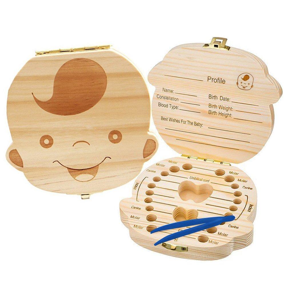 Baby Teeth Box Save Organizer, Wooden Tooth Keepsake Box for Baby, Kids Milk Teeth/Umbilical Cord/Lanugo Memory Storage Boxes Organizer for Boys Girls UEOTO