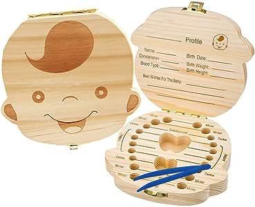 caja de madera Organizador guardar los dientes de bebé caja de recuerdos para bebé, niños dientes de leche/cordón umbilical/lanugo organizador para niños niñas - pinzas gratis: Amazon.es: Bebé