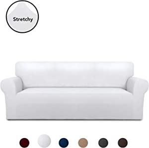 PureFit Super Stretch Chair Sofa Slipcover – Spandex Anti-Slip Soft Couch Sofa Cover, Washable Furniture Protector with Anti-Skid Foam and Elastic Bottom for Kids, Pets (Sofa, White)