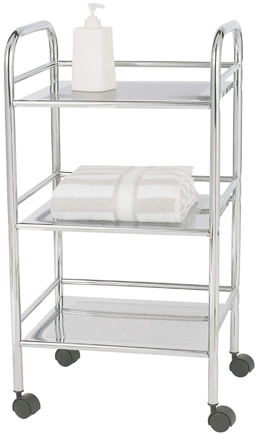 Amazon.com: WENKO 12285100 Exclusive Household and Bathroom Trolley - Mobile Bathroom Rack, 3 Shelves, Metal - Steel, 16.1 x 29.5 x 12.6 Inch, Chrome: Home ...