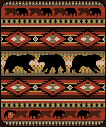 Black Bear Lodge High Quality Raschel Blush Queen Size Blanket