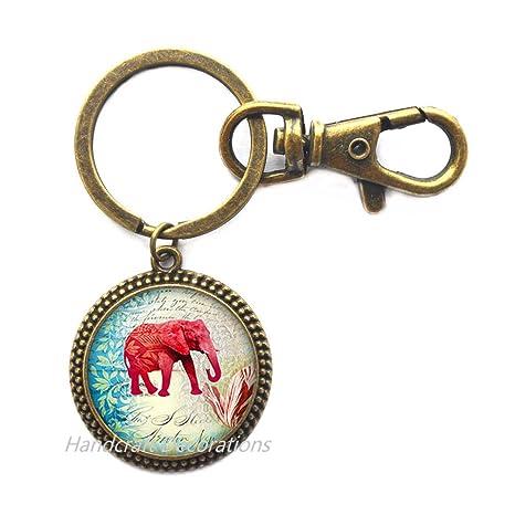 Amazon.com: Llavero de cristal de elefante rosa. Llavero de ...