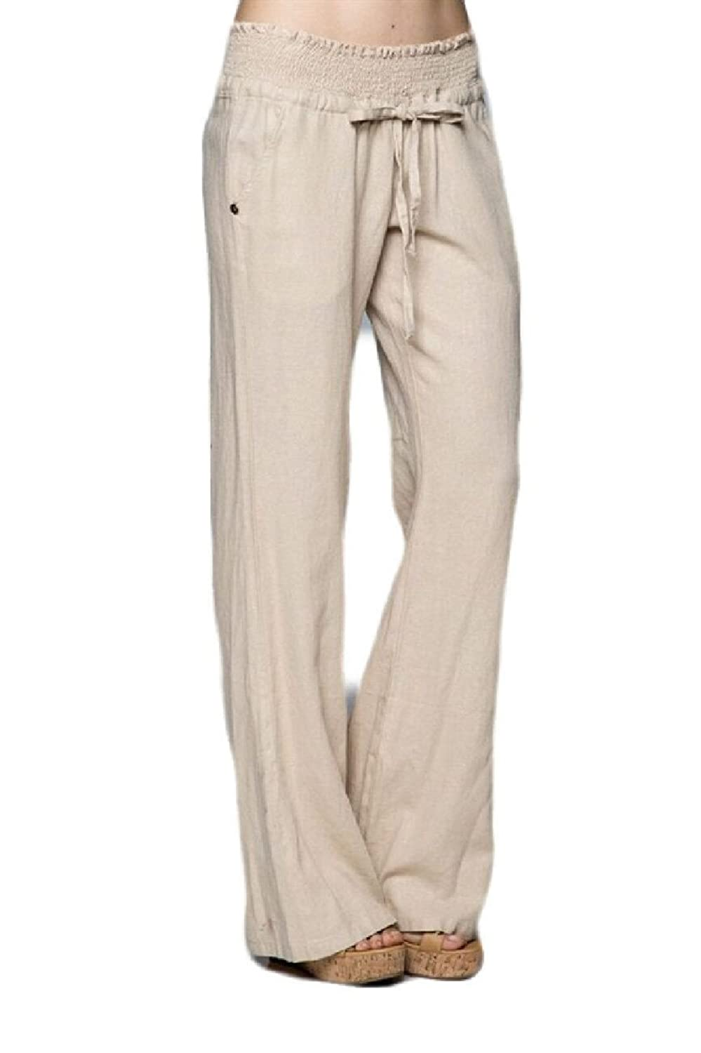 Banded Waist Linen Pants, Taupe