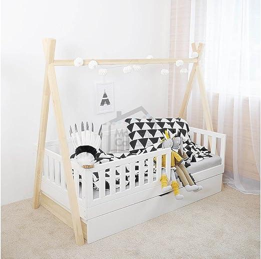 Cama Tipi 70x160 + barreras + cajón + somier: Amazon.es: Hogar