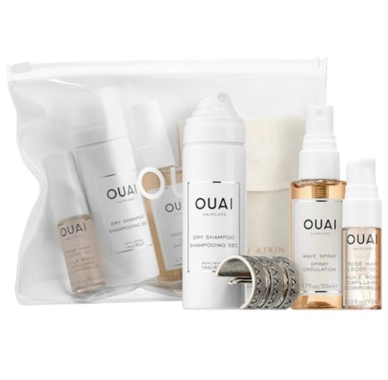 Ouai Desert OUAIsis Festival Kit: Rose Hair & Body Oil, Dry Shampoo Foam, Wave Spray, Jen Atkin x Chloe + Isabel Ponytail Piece (Limited Edition) by Ouai (Image #1)