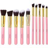 Abody® 10Pcs Professional Cosmetic Makeup Brush Set Foundation Powder Eyeshadow Concealer Brushes Kit (Golden+Pink)