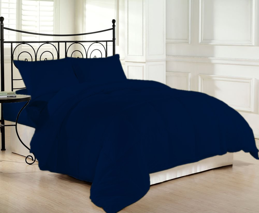 1200 TC Luxurious and Hypoallergenic 100% Egyptian Cotton Comforter Navy Blue Queen By Kotton Culture Solid (Cocoon Feel 400 GSM Medium Weight (Warm Comforter) Microfibre filling)