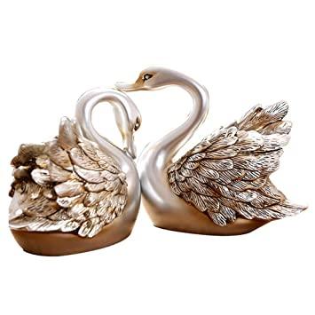 . Amazon com  Sculpture Living Room swan Ornaments Creative Home