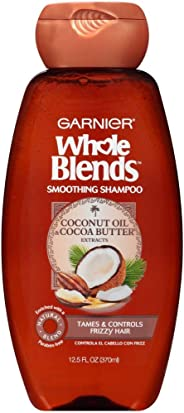 Garnier Smoothing Shampoo Whole Blends Coconut Oil and Cocoa Butter, Fix Frizzes and Fly-Aways, 370 mL