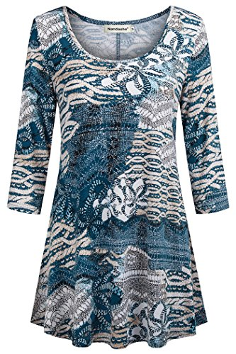Nandashe Summer Tunics for Leggings for Women Elegant Young Girls 3/4 Sleeves Loose Fit Elastic Ruffle Long Draped Hem Tunic Basic Shirts for Party Disco Green Beige 2X Size 18