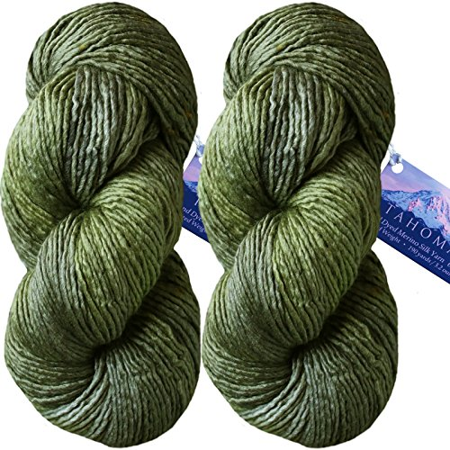 Merino Aran Yarn (Living Dreams TAHOMA Luxuriously Soft Merino Silk Yarn. Cruelty Free & Responsibly Sourced. Hand Dyed in USA. Aran Weight, Twin Pack, Olive)