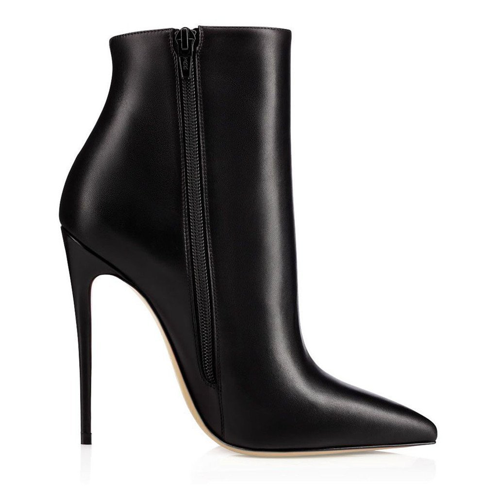 Joogo Pointed Toe Ankle Boots Size Zipper Stiletto High Heels Party Wedding Pumps Dress Shoes for Women B077NWH5MZ 11 B(M) US|Black Leather