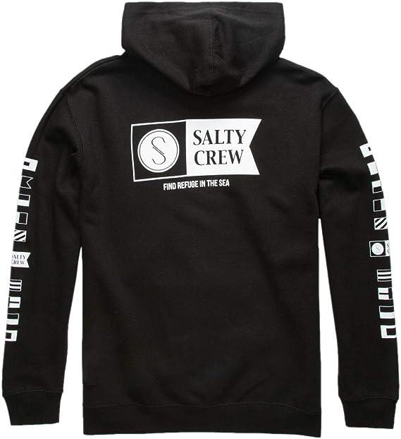 Large, Charcoal Heather Salty Crew Mens Tippet Trio Hooded Fleece Sweatshirt
