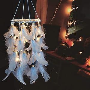 Alynsehom Blue Dream Catcher with LED Light Kids Bedroom Wall Hanging Handmade Feather Dreamcatcher Indian Boho Decor Nursery Craft Wedding Ornament Gift (Blue)