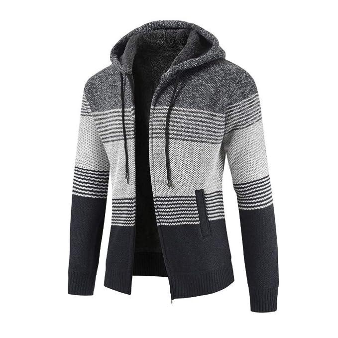 Bestow Abrigo de Invierno para Hombre más Terciopelo Cardigan Rayado Cremallera con Capucha Outwear Tops Suéter Blusa Abrigos: Amazon.es: Ropa y accesorios