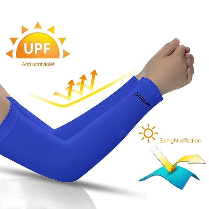 Unisex Mangas De Protección UV Mangas De Brazo Manguito De Protección Solar Manguitos De Seda De Hielo (Azul): Amazon.es: Ropa y accesorios