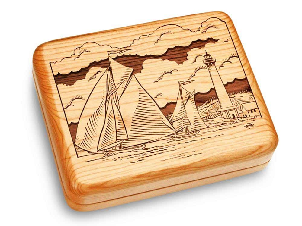 Music Box 6x5'' - Schooners - Claire de Lune by Heartwood Creations (Image #1)