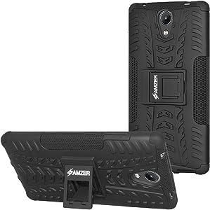 AMZER Hybrid Warrior Dual Layer Slim Protective Shockproof Case Skin for Lenovo Phab 2 - Black