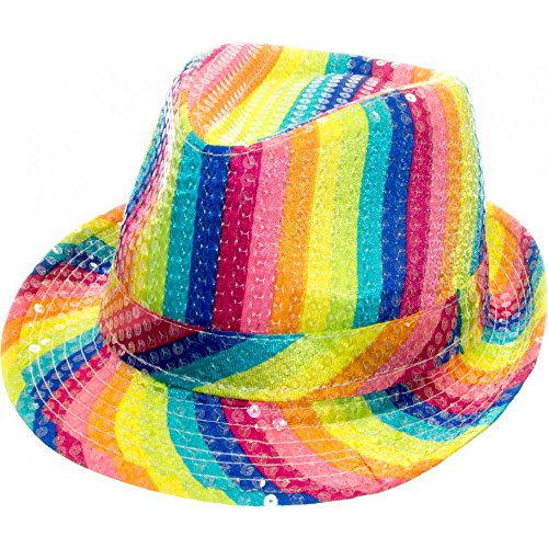 Arsimus Rainbow Fedora Hat Gay Pride Sequins Bright Party Cap -