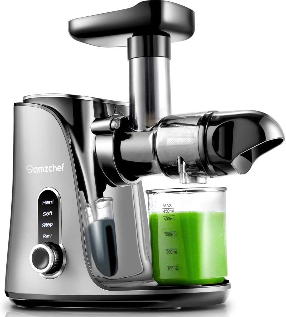 Licuadora prensada en frío, AMZCHEF licuadora de frutas y verduras, Extractor de zumos con 2 velocidades, panel de pantalla LED, 2 botellas de agua(500ML), cepillo fácil de limpiar (Plata)