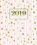 Agenda 2019: 19x23cm: Agenda 2019 settimanale italiano: Strisce rosa con macchie dorate 4701