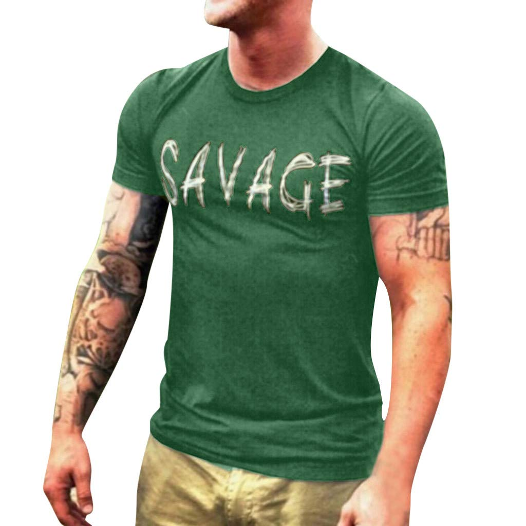 Winsummer Men's Graphic T Shirt Savage Summer Short Sleeve T-Shirts Slim Fit Casual Tees Tops Green by Winsummer (Image #1)