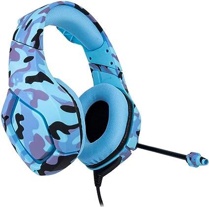 LonlyBy Computer Gaming Headset Camuflaje Estéreo Sonido Cómodos Auriculares con cancelación de Ruido para PC, Mac, Playstation 4, Xbox One, Android y iPhone (Blue): Amazon.es: Electrónica