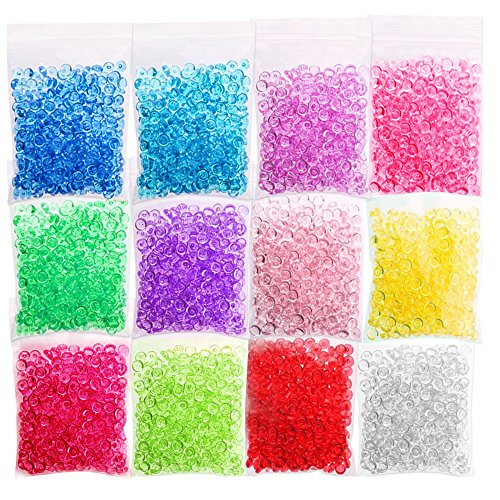 CandyHome 12 Pack Fishbowl Beads Clear Vase Filler Beads Crunchy Slime Beads for Homemade Slime, Arts DIY Crafts, Party or Wedding Decoration (Plastic, 12 Colors, 8.5 Ounces)]()