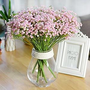 ADSRO 7 Fork Artificial Flower Bouquet, Simulate Flower Baby Breath/Gypsophila for Wedding Bride Holding Flowers Home Garden DIY Decor (Pink) 21