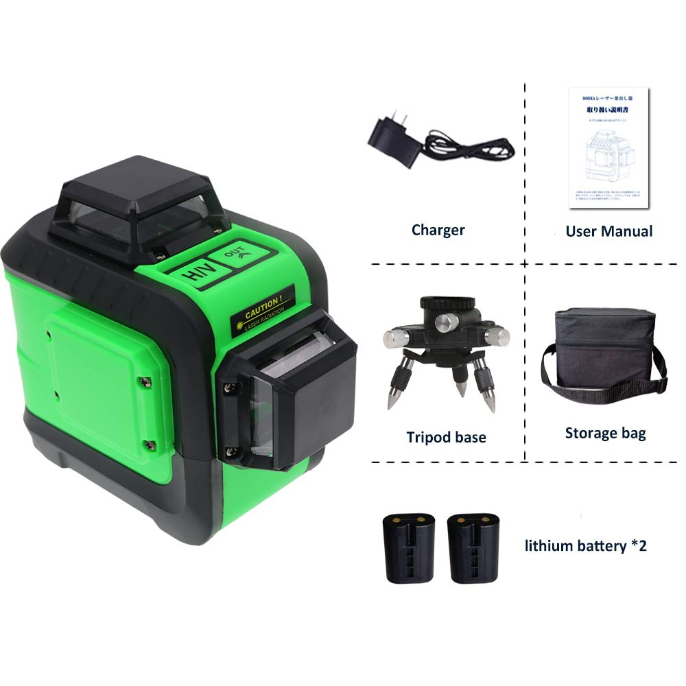 2D 360 Degree Laser Level Mute Levelsure Green Beam 100 Ft Indoor Vertical Horizontal Line with Mini Tripod Base 2 Full time Pulse