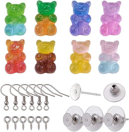 PandaHall 16 colgantes de resina con dise/ño de oso de gomita con 10 pares de pendientes y 20 pasadores de ojo de tornillo y 10 pares de ganchos para aretes para hacer manualidades.