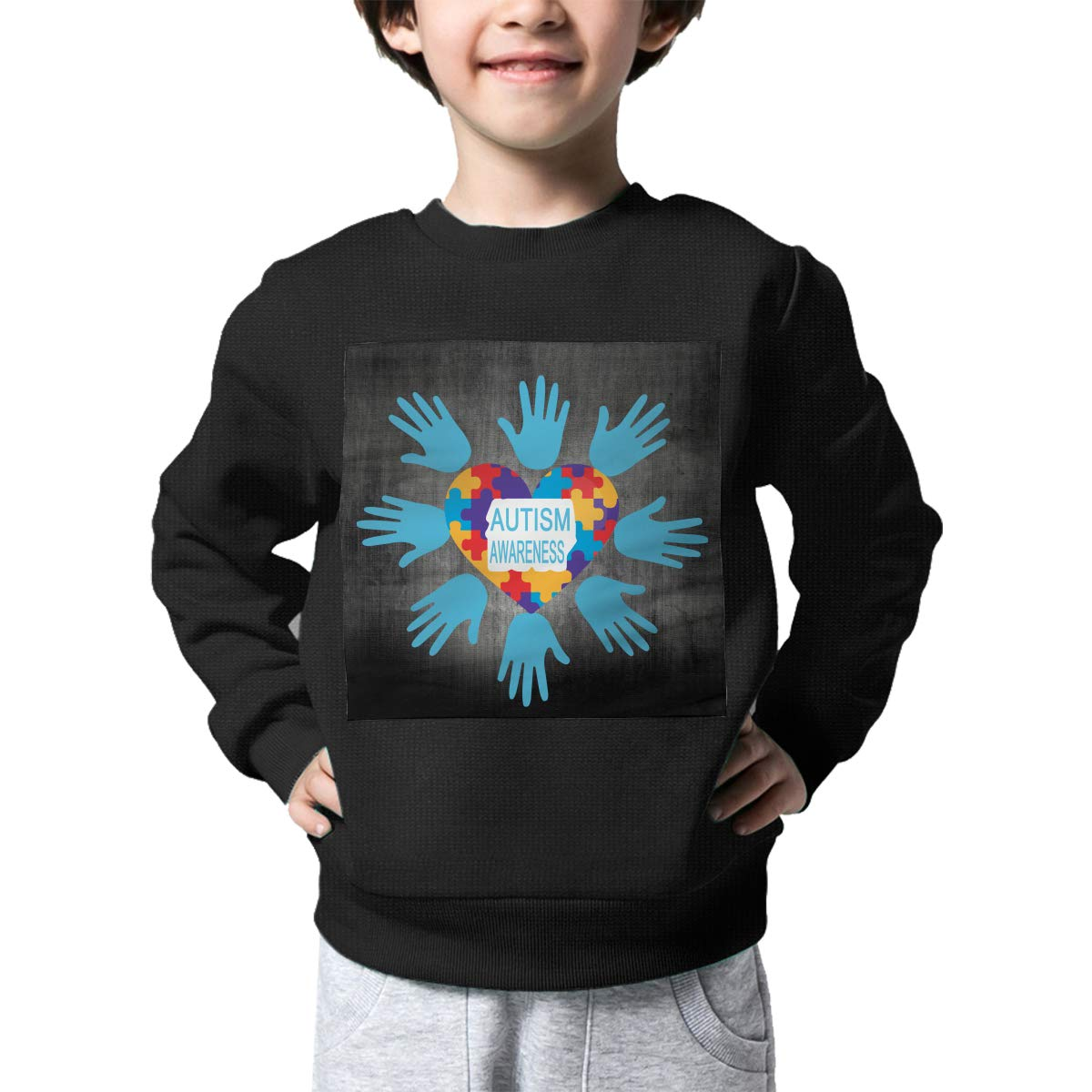 Autism Awareness Printed Baby Girls Childrens Crew Neck Sweater Long Sleeve Warm Knitted Sweater Jumper