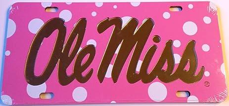 Pink Polka Dot Ole Miss Mirrored Car Tag University