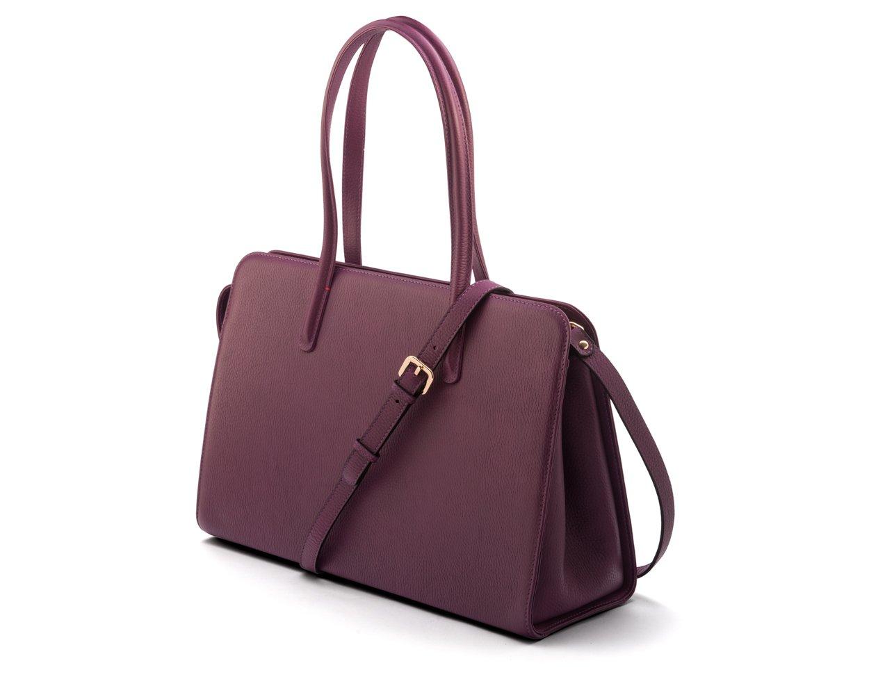 SAGEBROWN Purple Ladies Leather Work Bag