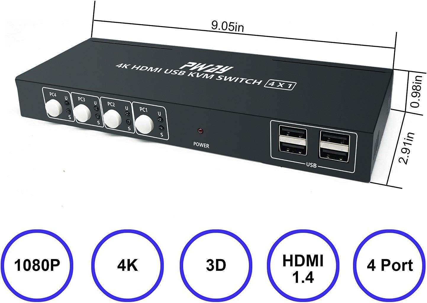 PWAY HDMI KVM Switch 2 Port Dual Monitor Support 4K@30Hz Y:U:V 4:4 ...