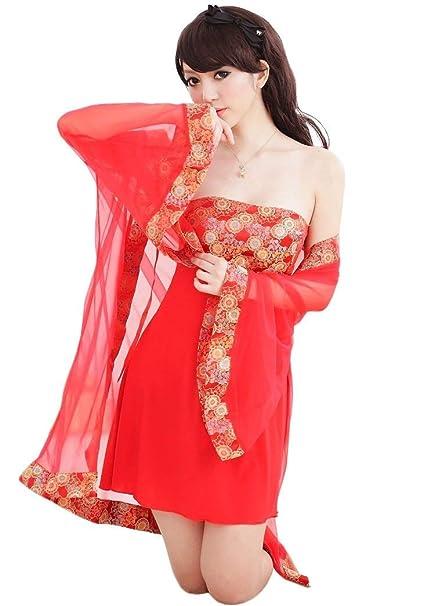 Batas Mujer Bandeau Mini Vestido Fashion Bonita Classic Vestidos Tunicas Dos Piezas Vintage Manga Larga Florales Perspectiva Pijamas Mujer Camisones (Color ...