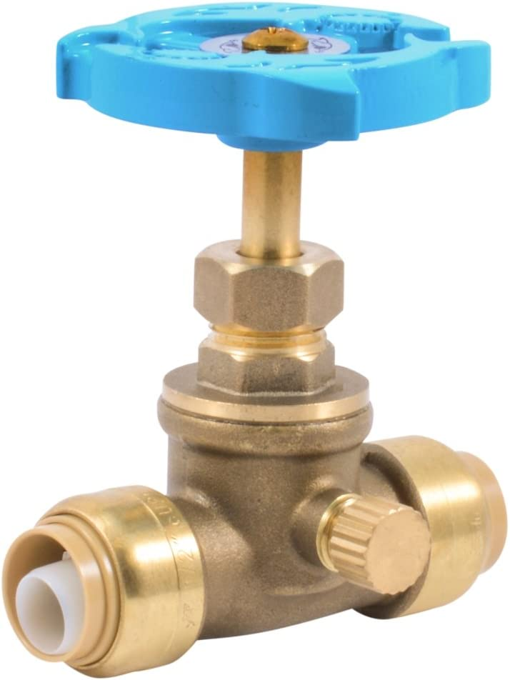SharkBite 24634LFA Stop Drain x 1/2 inch, Water Valve Shut Off, Push-to-Connect, PEX, Copper, CPVC, PE-RT, 1/2 Inch x 1/2 inch
