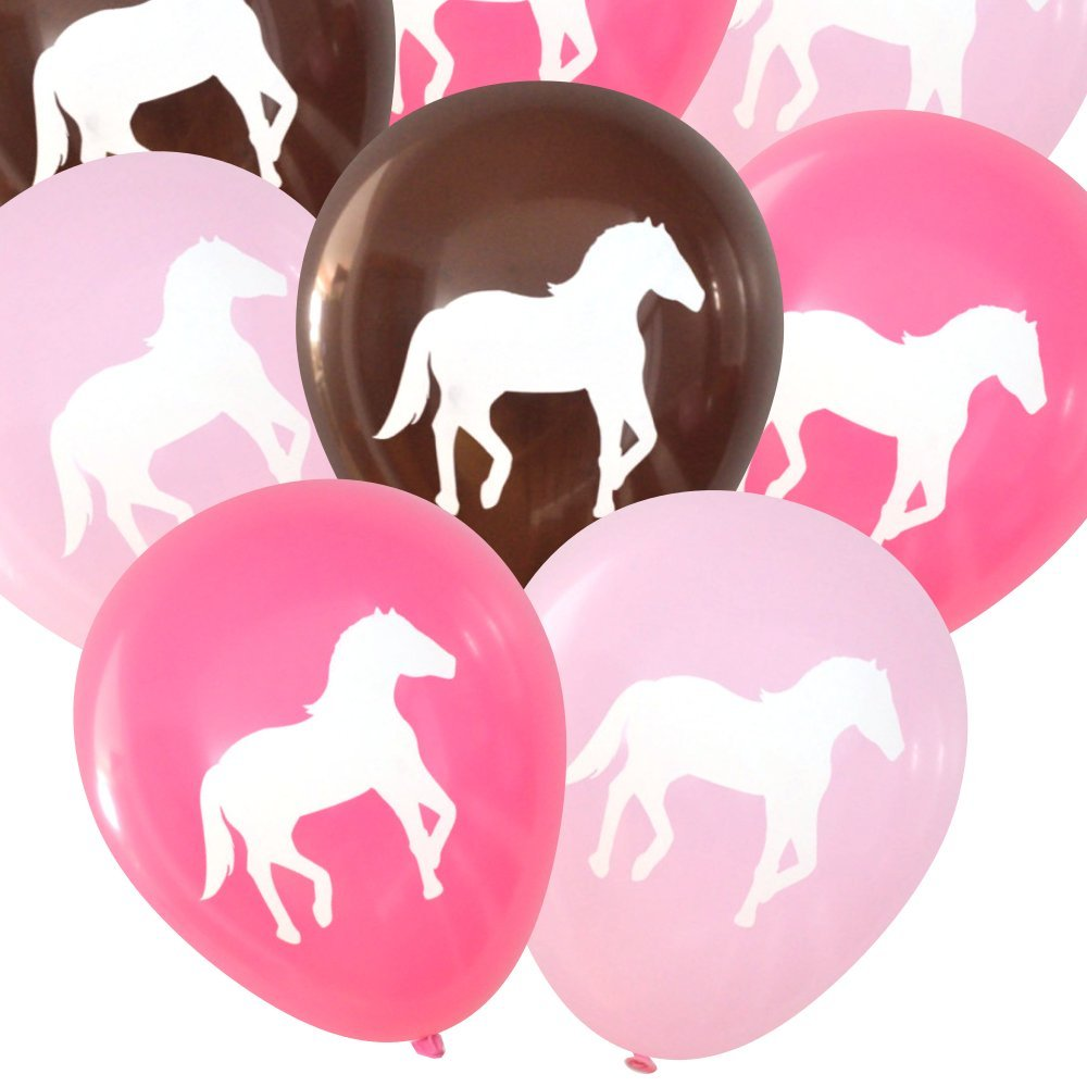 Nerdy Words Horse Latex Balloons, 16 count (Pinks & Dark Brown)