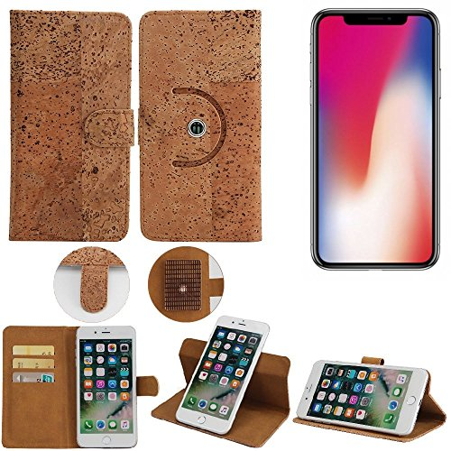 Housse / Coque de Liège pour Apple iPhone X Case 360° Cover Flip Style portemonnaie walletcase, protecteur shell Flip Cover - K-S-Trade (TM)