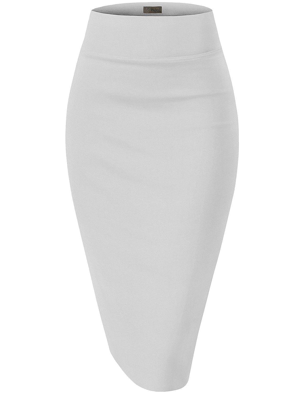 Hybrid /& Company Womens Premium Stretch Office Pencil Skirt KSK45002 White Large