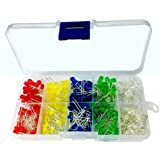 Haitronic 300pcs 3mm, 5mm led Assorted Colorful(5 Color) LED KIT for Prototyping Arduino/breadboard DIY, Teaching Students Electric Circuitry, red Yellow Blue Green White Assorted LED