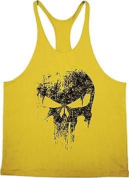 Cabeen Herren Skull Print Muscleshirt Bodybuilding Gym Stringer Tank Top Sport Weste