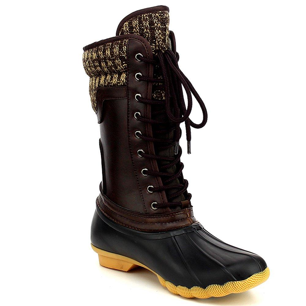 Refresh Hunter Women's Waterproof Rubber Rain Skimmers Duck Boots B01NCC94X0 6 M US|Black/Brown
