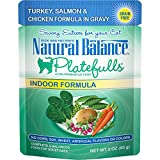 Natural Balance Platefulls Grain Free Indoor Cat Food, Salmon & Chicken Formula In Gravy, 3-Ounce Pouches (Pack Of 24)