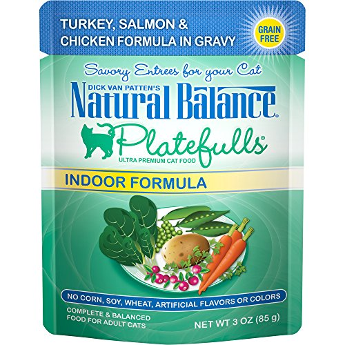 (Natural Balance Platefulls Grain Free Indoor Cat Food, Salmon & Chicken Formula In Gravy, 3-Ounce Pouches (Pack Of 24))