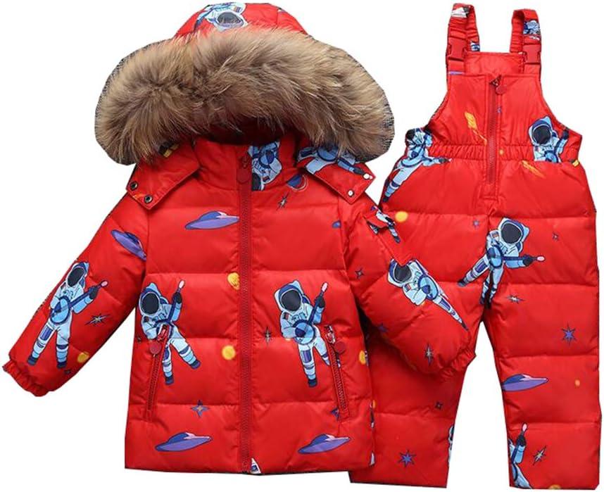 Beb/é Unisex 2 Piezas Traje de Nieve c/álido Abajo Chaqueta con Capucha de Piel Pantalones Jumpsuit Ni/ña Ni/ño Ropa de Invierno Set//1-3 A/ños