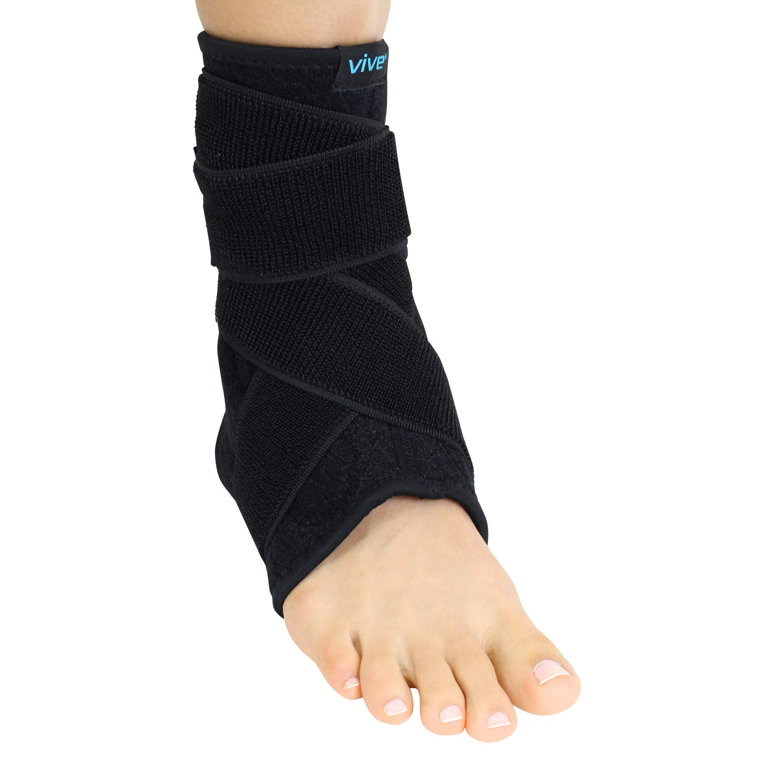 Vive Sprained Ankle Brace for Women, Men - Right or Left Compression Foot Immobilizer Support - Basketball, Volleyball Neoprene Stabilizer Wrap Protector - Tendonitis, Heel Spur, Running Feet Sprain by Vive