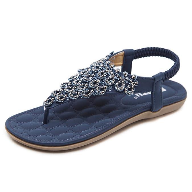 TYAW-Frauen Sandalen Flip Flops Für Den Menschlichen Charakter Badeschuhe Quadratischen Kopf Leder Perlen,Blau,38