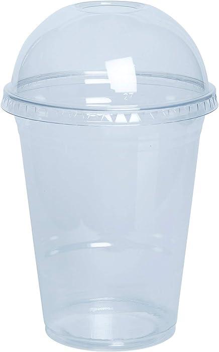 [50 Sets - 16 oz.] Plastic Cups With Dome Lids